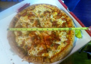 "Papa John's ""Large, 14-inch"" Pizza, which was actually 13-inches"